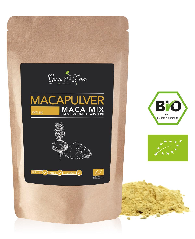 Maca Pulver Mix aus gelbem, rotem, schwarzen Maca